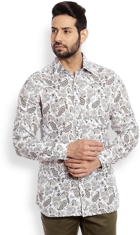 Raymond Mens Printed Casual Linen Beige Shirt