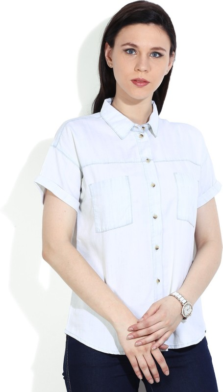 United Colors of Benetton. Womens Solid Casual Light Blue Shirt