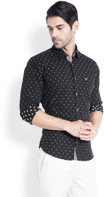 Park Avenue Mens Printed Casual Black Shirt