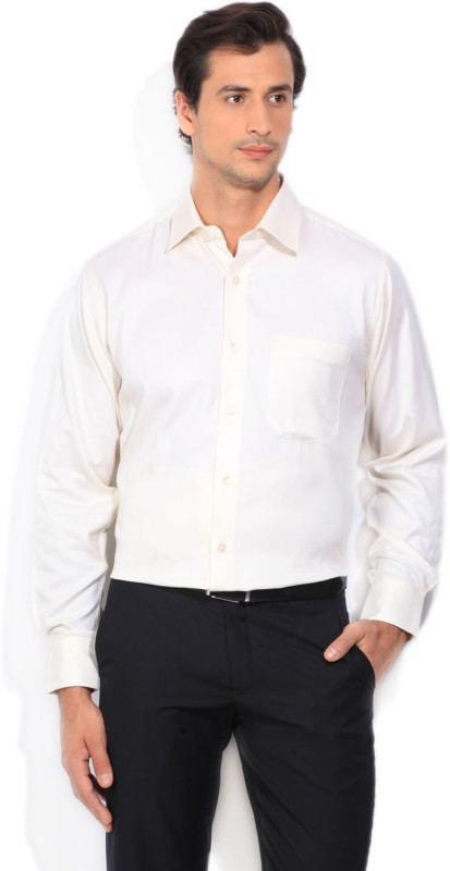 Louis Philippe Mens Self Design Formal Beige Shirt