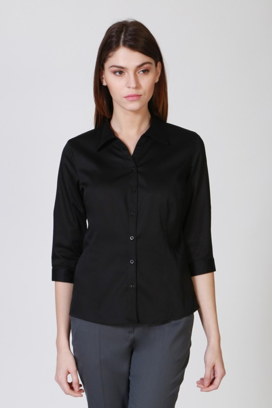 Allen Solly Womens Solid Casual Black Shirt