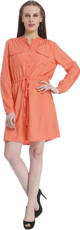Vero Moda Women's Solid Casual Orange Shirt