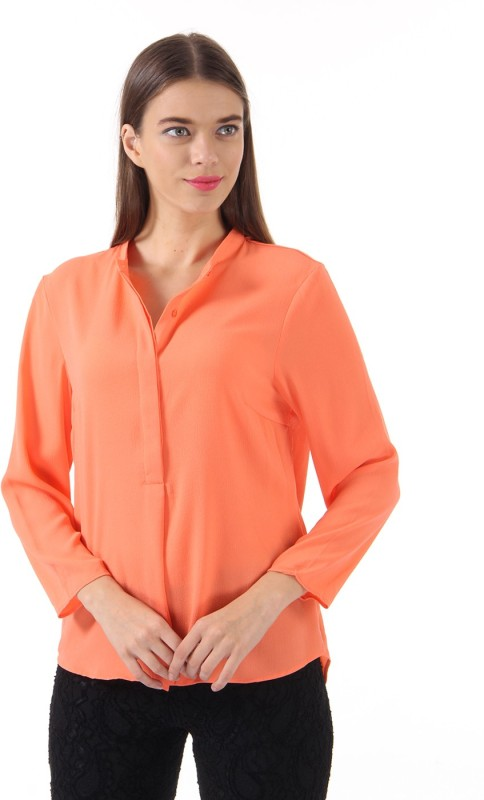 Only Womens Solid Casual Orange Shirt