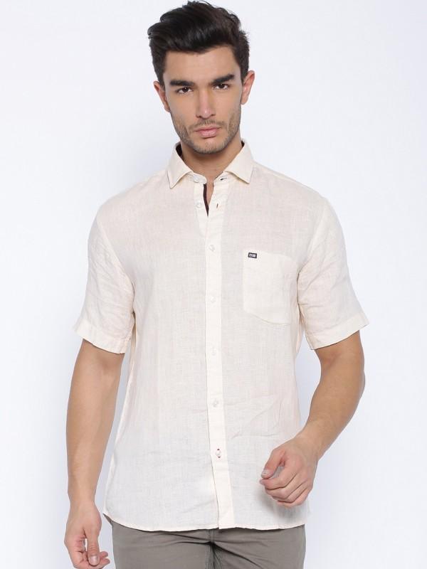 Arrow Sports Mens Solid Casual Linen Beige Shirt