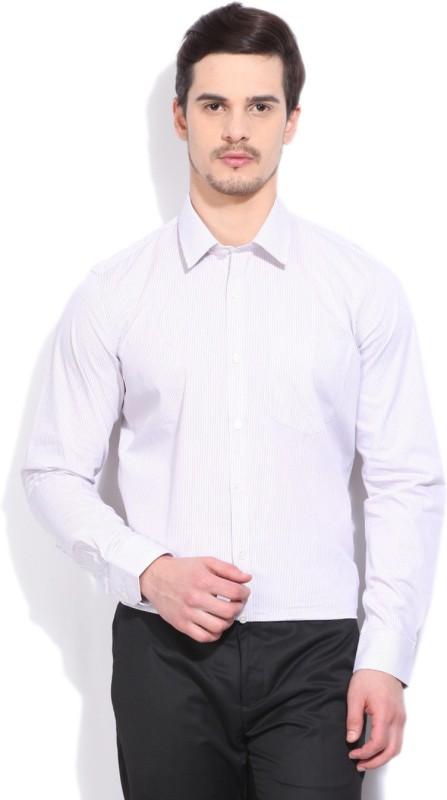 Urbana Men's Striped Formal White, Purple Shirt