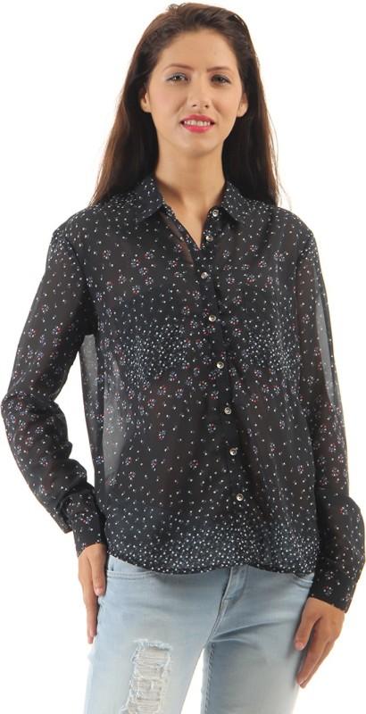 Pepe Jeans Women Printed Casual Black Shirt