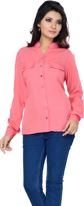 Ishin Designer Studio Women Solid Party Pink Shirt