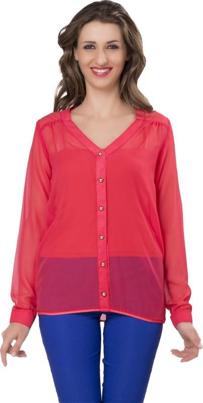 Ishin Designer Studio Women Solid Casual Red Shirt