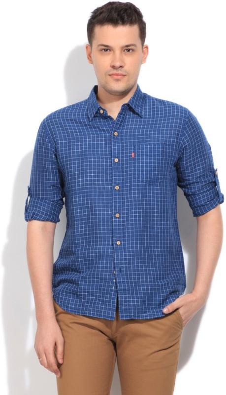 3. Levi's Men's Checkered Casual Blue Shirt
