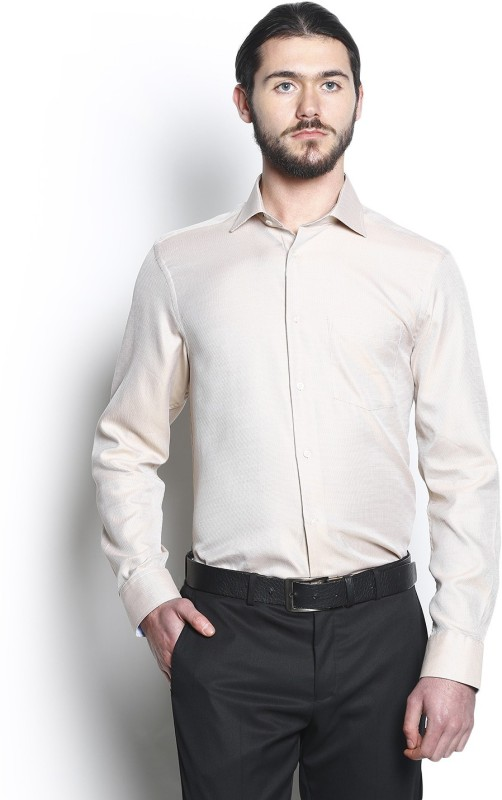 Blackberrys Mens Self Design Formal Beige Shirt