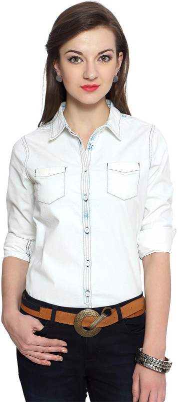 SF Jeans by Pantaloons Women Solid Casual Light Blue Shirt