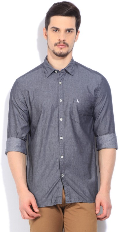 Parx Mens Self Design Casual Grey Shirt