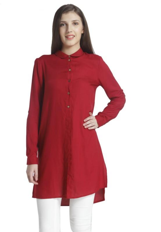 Vero Moda Women's Solid Casual Red Shirt