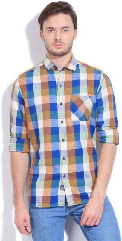 5. Forca Men's Checkered Casual Brown, Blue Shirt