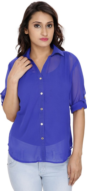 2 Day Womens Solid Casual Blue Shirt
