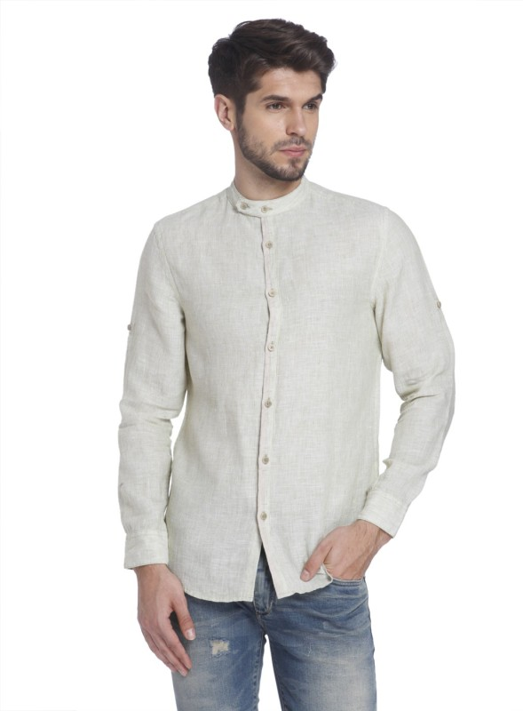 Jack & Jones Mens Solid Casual Beige Shirt