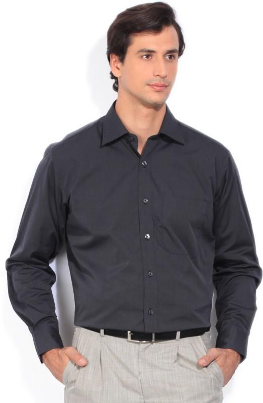 Louis Philippe Mens Solid Formal Black Shirt