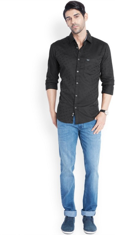 Park Avenue Mens Solid Casual Black Shirt
