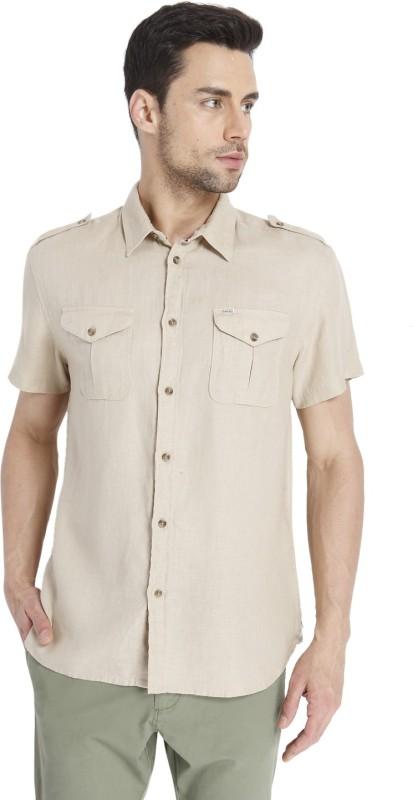 Jack & Jones Mens Solid Casual Beige Shirt