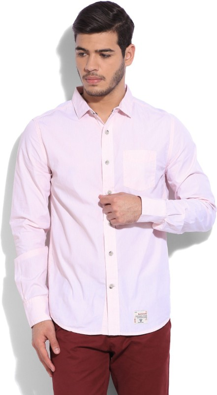 Superdry Mens Striped Casual Pink Shirt