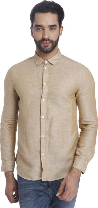 Jack & Jones Mens Solid Casual Linen Beige Shirt