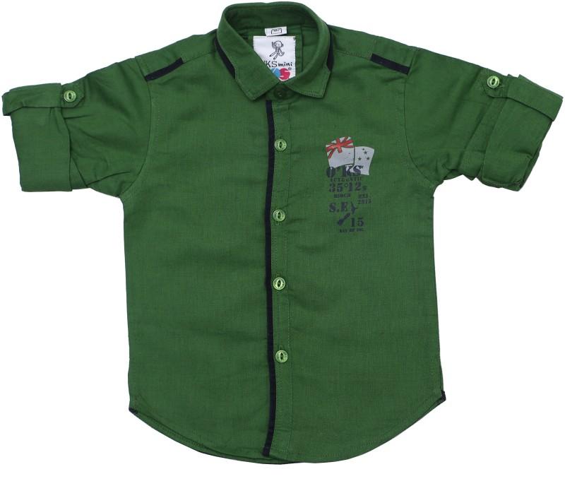 OKS mini Baby Boys Graphic Print Casual Green Shirt