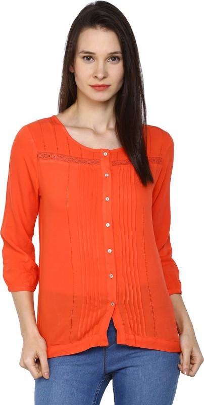 Arrow Womens Solid Casual Orange Shirt