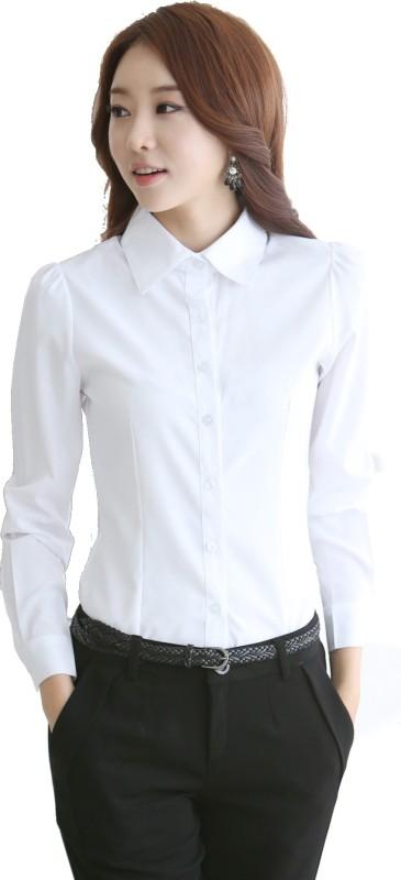 Mansworld Women's Solid Formal V-Collar Shirt