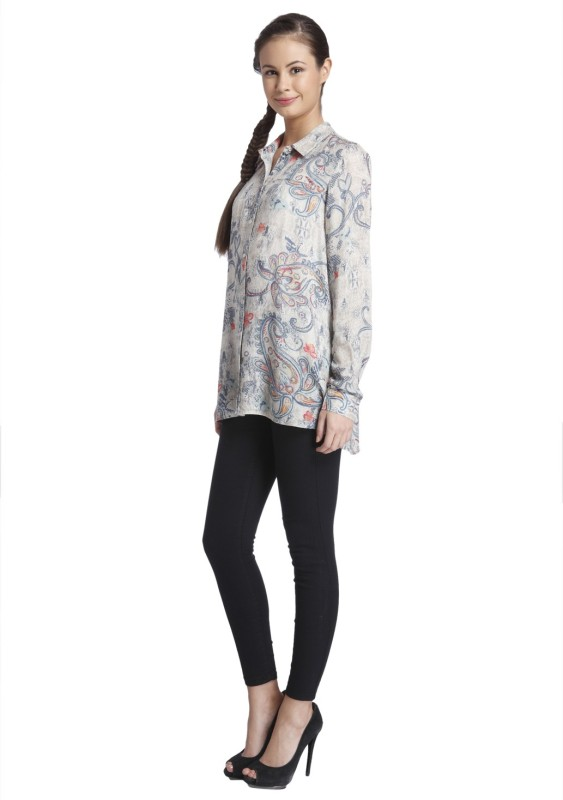 Only Women's Printed Casual Grey Shirt