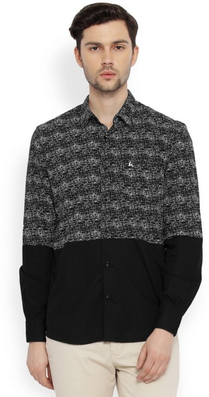 Parx Mens Printed Casual Black Shirt