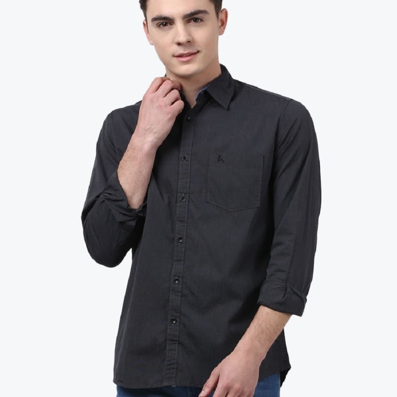 Parx Mens Solid Formal Black Shirt