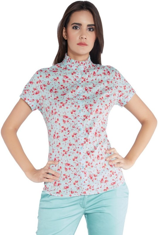 Park Avenue Womens Printed Formal Blue Shirt