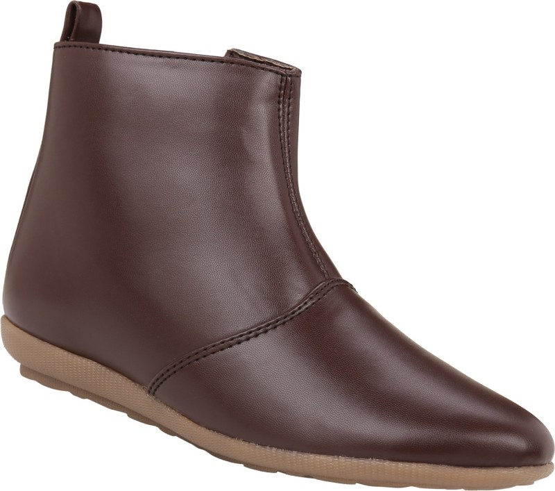 Exotique Flat Boots For Women(Brown)