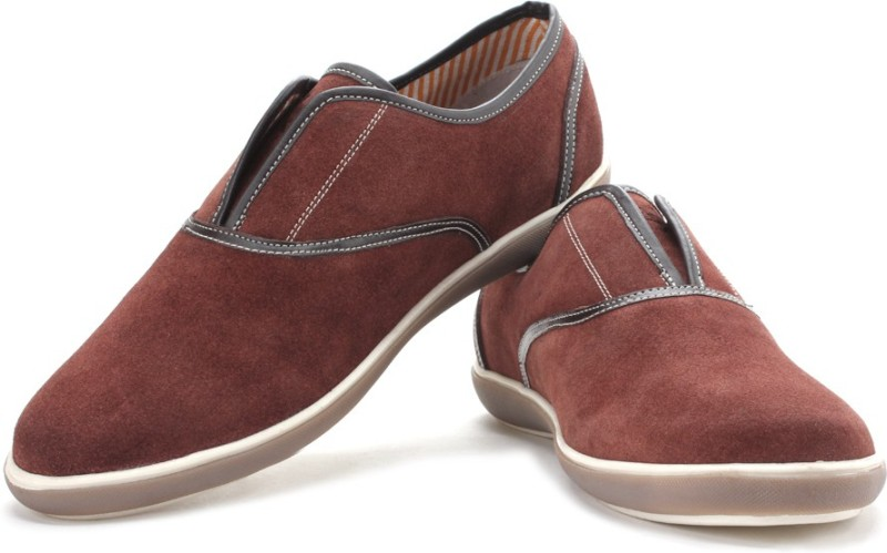Arrow Men Suede Leather Loafers For Men(Maroon)