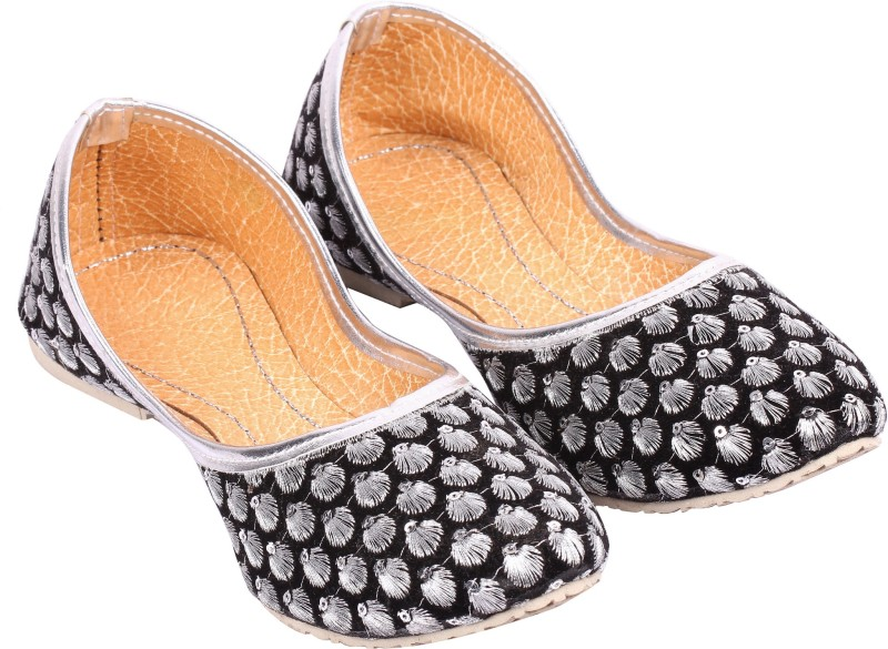 A S Collections Zari Work With Tara Moti Jutis For Women(Black, Silver)