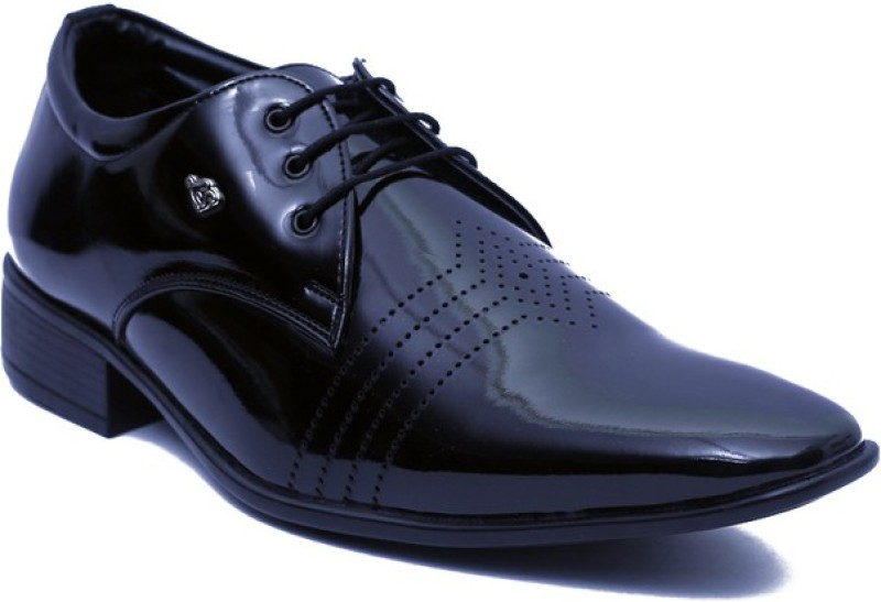 Floxtar Black Formal Shoes Lace Up For Men(Black)