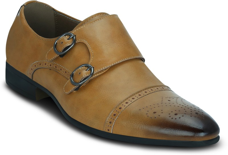 Get Glamr Wei Monk Strap For Men(Tan)