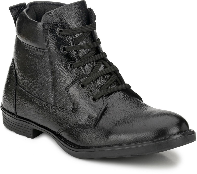 Mactree Genuine Leather Boots For Men(Black)