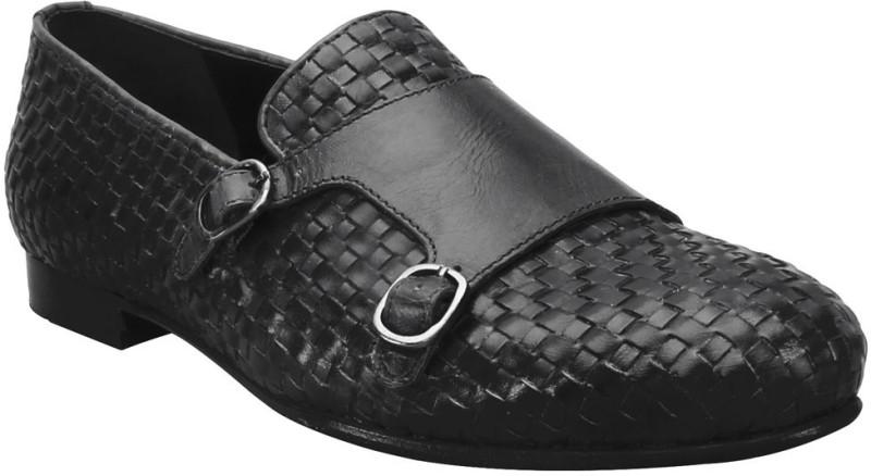Bare Skin Black Genuine leather Hand Woven Double Monk Slip On Shoe For Men Loafers For Men(Black)