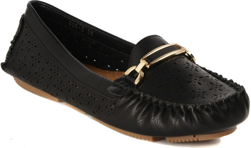 Flat n Heels Loafers For Women(Black)