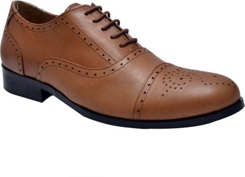 Hirels Men Tan Oxford Brogues Lace Up For Men(Tan)