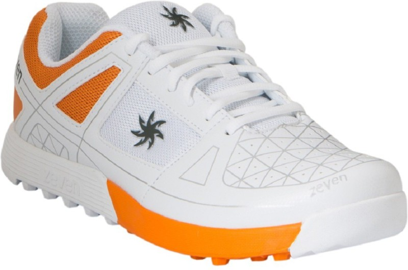 Zeven Crust Cricket Shoes For Men(White, Orange)