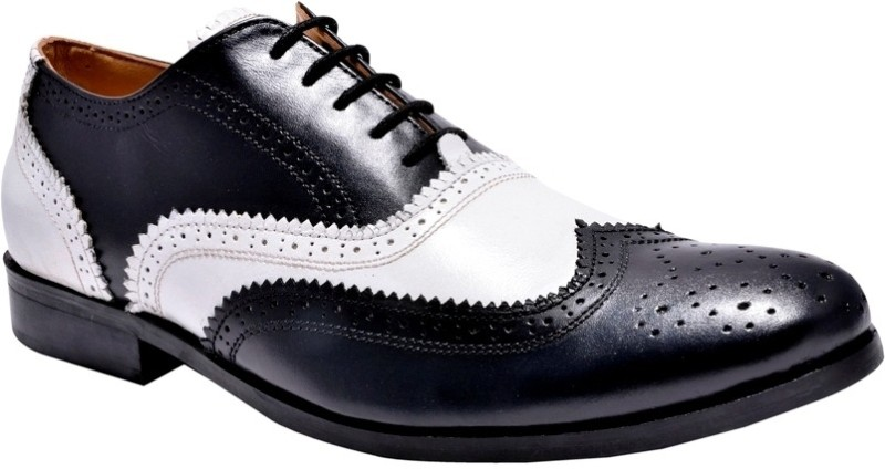 Hirels Mens Dual Color Leather Brogues Lace Up Shoes For Men(Black, White)