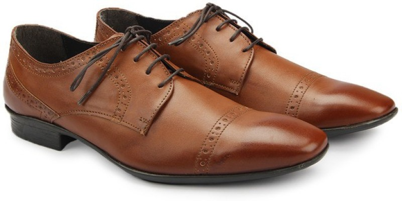 Knotty Derby Classic Brogue Derby Derby For Men(Tan)