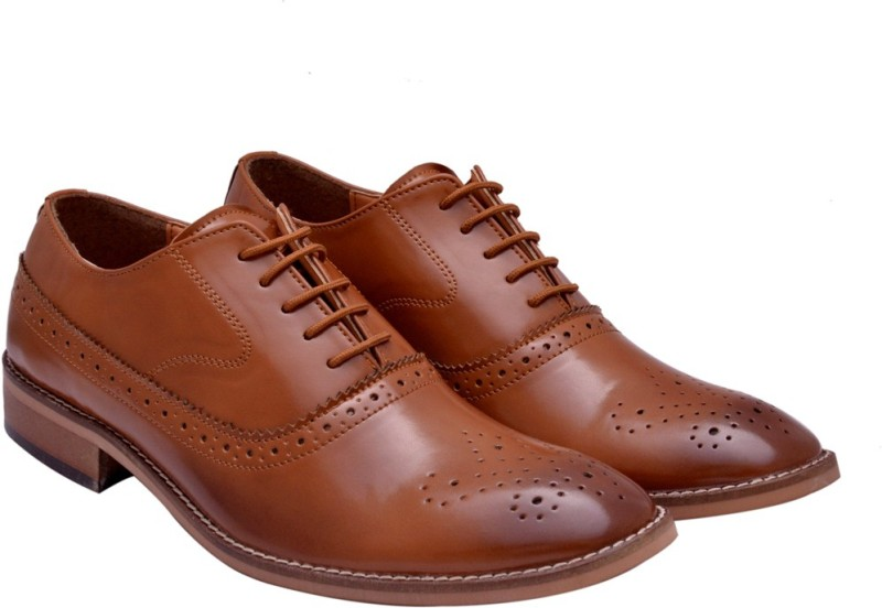 Hirels Tan Cap Toe Oxford Brogue Lace Up Lace Up For Men(Tan)