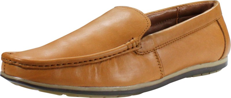 Feather Leather Genuine Leather Black Formal Shoes 045 Loafers For Men(Tan)
