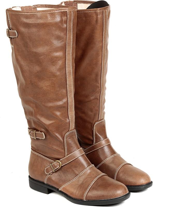 TEN TEN Womens Tan Knee Length Boots Boots For Women(Tan)