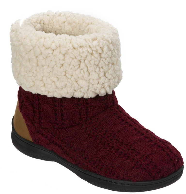 Dearfoams Dearfoams Cuffed Knit Boot Slipper with Heel Patch Red Boots For Women(Red)