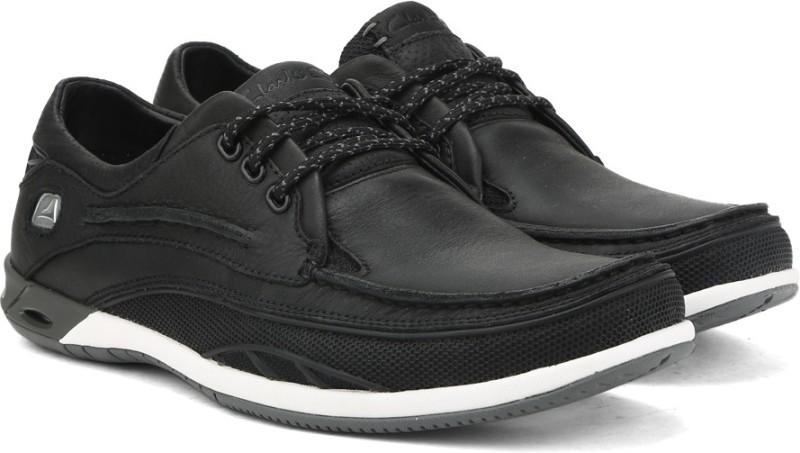 Clarks Orson Lace Black Leather Walking Shoes For Men(Black)