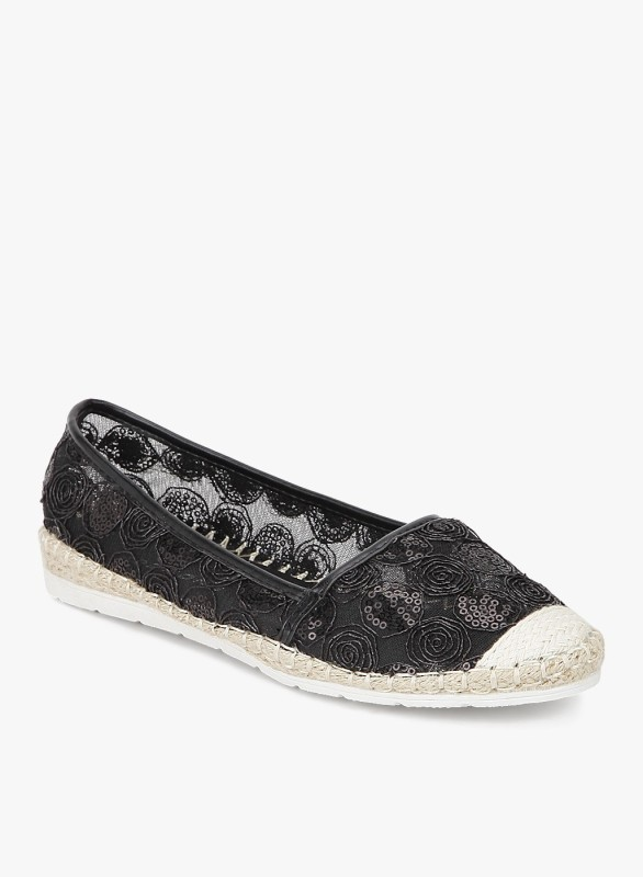 Addons Embroidered translucent espadrille Loafers For Women(Black)